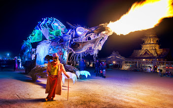 Photo: Jens and Gonkirin the Chinese Dragon This was one of the first nights at Burning Man. The temple had just opened and some of the art cars were coming by to see. This guy jumped into my frame. I didn't mind because he was so cool looking. I asked him to freeze while I got this shot. Just at that time the dragon spewed a huge burst of fire. You would be amazed how this type of magic happens constantly out there... where everything comes together in perfect harmony. #burningman2012