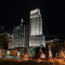 New Year by Duane Vosika - City,  Street & Park  Night ( landscapes, city, night, bright, downtown, skyscraper, nebraska, long exposure, skyline, fireworks, building, nikon, omaha, light, cityscape, light trails, tower )