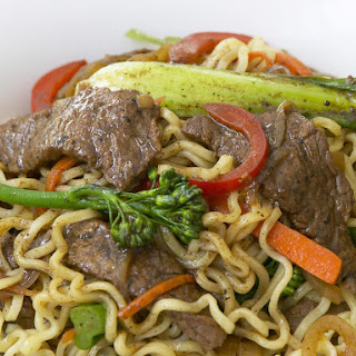 Stir-Fried Beef with Ramen and Black Bean Sauce.