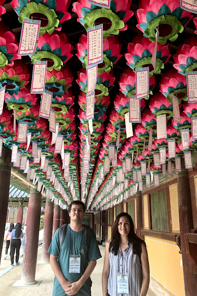 Students standing under a hall of hanging lanterns while on Study Abroad Program in Daegu S.Korea