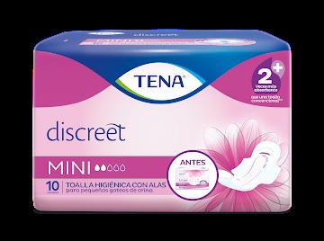 Toallas para mujer TENA Discreet Mini delgadas con alas x 10Und