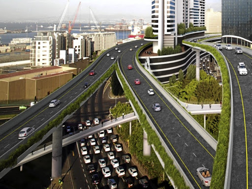 An artist's impression shows how the completed Foreshore freeways will wind over and between skyscrapers.