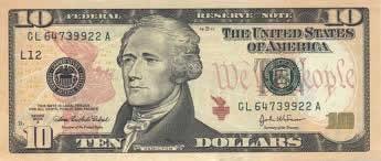 Descrição: Nota americana de dez dólares