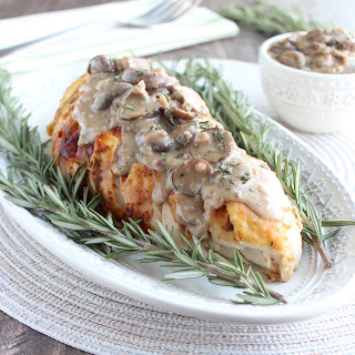 Roasted Turkey Breast with Blue Cheese Mushroom Gravy