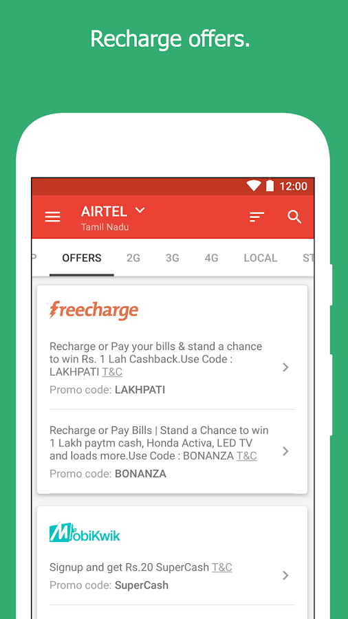 Recharge Plans, DTH Plans, Offers- screenshot