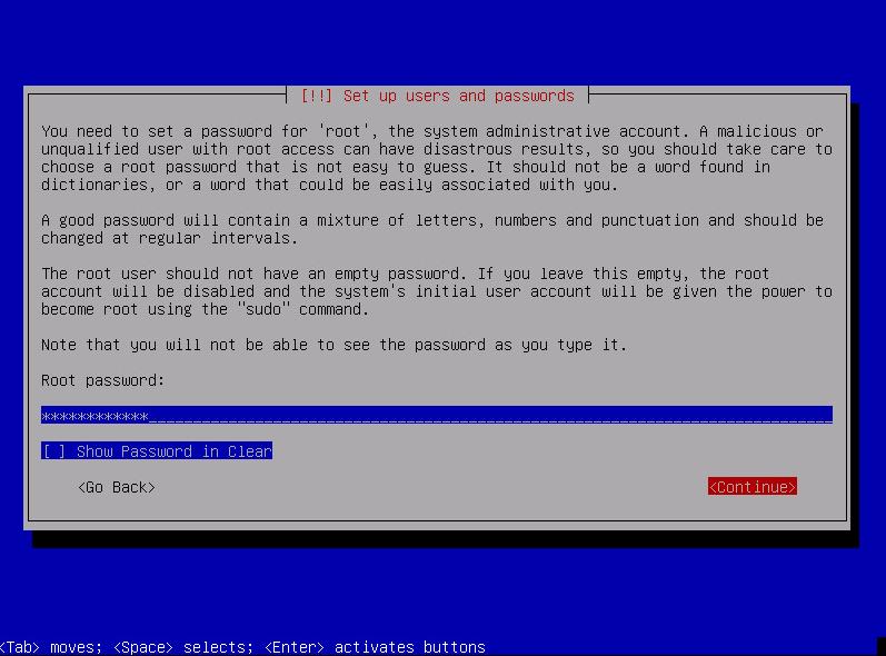 Укажите пароль root (администратора) сервера и введите его повторно для подтверждения.