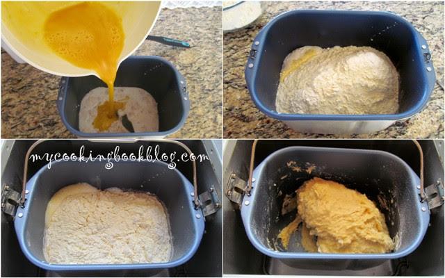 замесване на тестото в машина за хляб