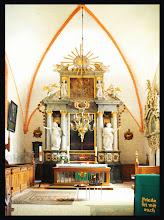 Photo: barocker Altar aus dem 18. Jht. in der Kirche Proseken / Gägelow bei Wismar  Die schönen Kerzenständer sind im Jahre 2013 gestohlen worden.