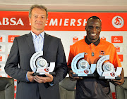 Rodney Ramagalela of Polokwane City voted player of the month of October and his goal wins a goal of the month of October with Bloemfontein Celtic head coach Veselin Jelusic as coach of the month of October during 2017 PSL Absa Monthly Awards Announcement at PSL Offices in Parktown ,Johannesburg South Africa on 09 November 2017.