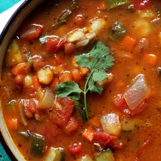 Vegetarian Posole with Beans and Poblano Peppers Recipe