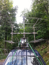 Photo: 50 Mhz Moxon over new H-frame (L) Pair 432 10L and (R) top 144 5L, bot 222 6L