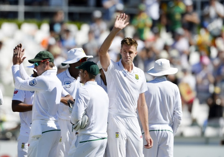 Morne Morkel of South Africa celebrates the wicket of Shaun Marsh of Australia and taking 300 wickets during day 2 of the 3rd Sunfoil Test match between South Africa and Australia at PPC Newlands on March 23, 2018 in Cape Town, South Africa.