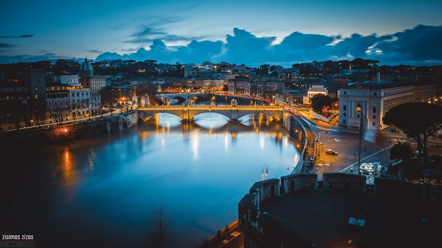 Rome by Zisimos Zizos - Buildings & Architecture Bridges & Suspended Structures ( rome, longexposure, dramatic, river )