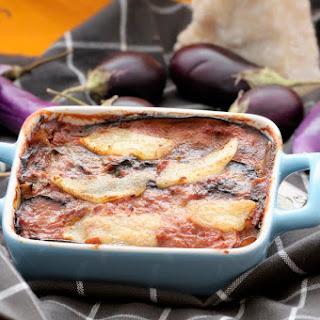 Lightened up Gluten-Free Eggplant Parmesan.