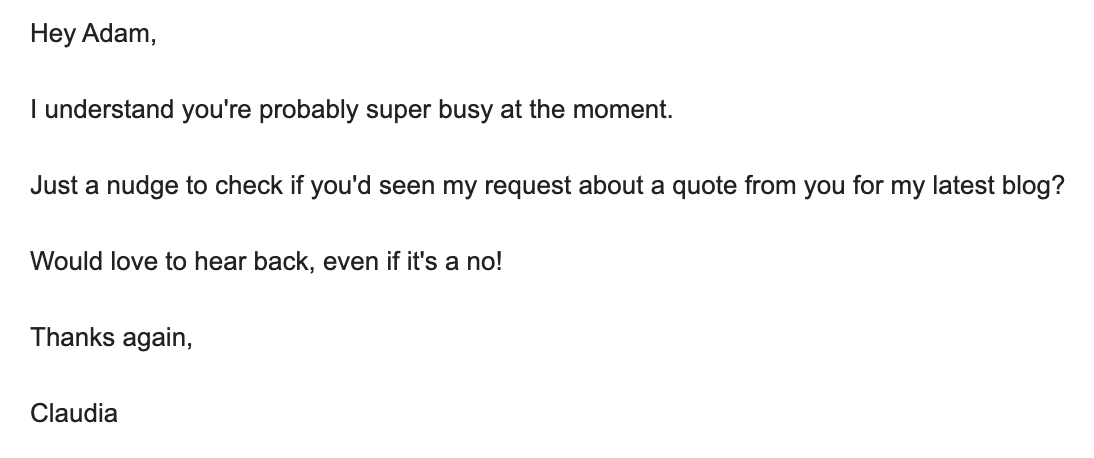 An example of a follow-up email to a blogging influencer to ask for their input.