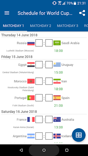 Schedule for World Cup 2018 Russia 1.0.0 screenshots 1