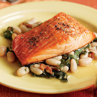 Broiled Salmon with a White Bean, Kale & Bacon Ragoût