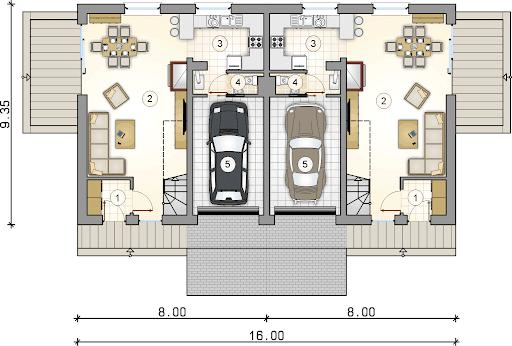 Double House II - Rzut parteru