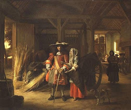 Photo: 1675 This painting is called Paying the Hostess. They are standing in what is obviously a barn, but at the far end you can see diners and a fireplace. Half barn, half house.