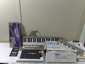 Photo: Music keyboard related add-ons for the C64 : Musical Keyboard, Siel Sound Buggy, Sound Chaser 64