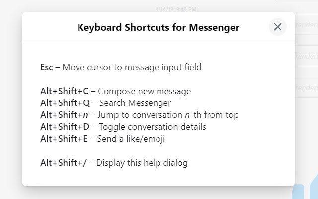 Keyboard Shortcuts for Messenger