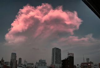 Photo: August 7, 2012 - This was a crazy cloud.  I was home at the time, and my room literally turned pink from the light coming in by the windows.  I grabbed my camera and ran out; this pink cloud was so huge I had to shoot a panorama to get it all.