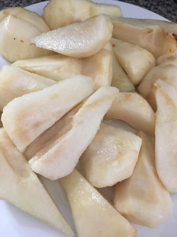 Peel pears. Remove seeds. cut each pear in to 4 pieces length wise. Toss...