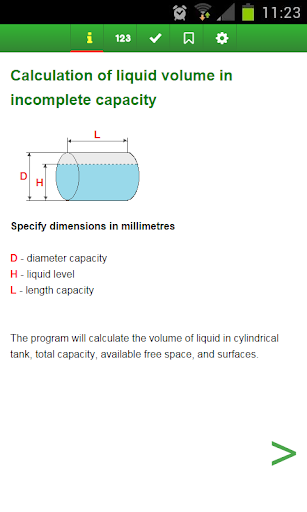 Calculate the volume of tank