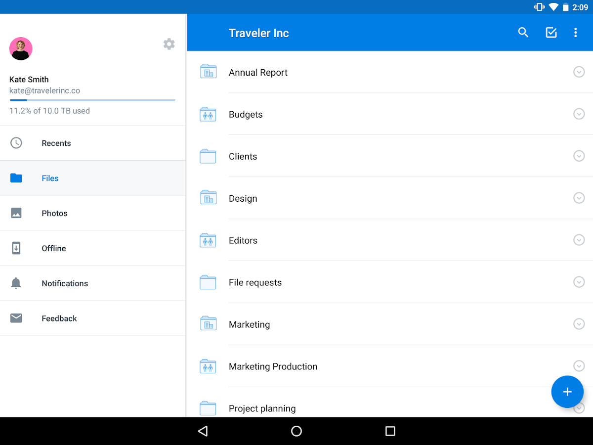 Dropbox – Capture d'écran