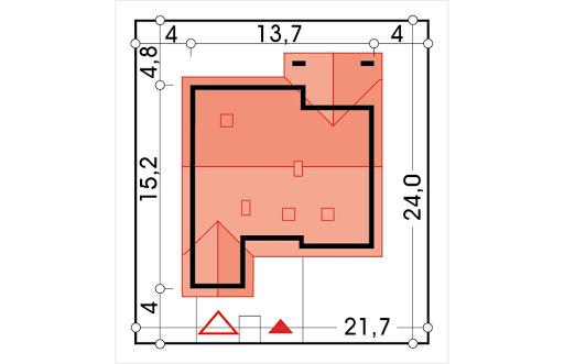 Ambrozja wersja B z poddaszem z pojedynczym garażem - Sytuacja