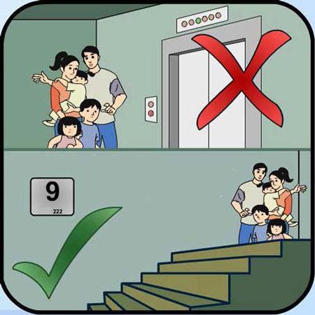 Không sử dụng thang máy trong đám cháy, hãy sử dụng các thang thoát hiểm. Ảnh: Websie Đại học PCCC.