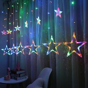 Instalatie Craciun - perdea luminoasa ploaie 12 stele