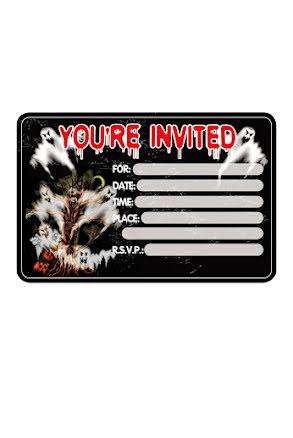 Inbjudningskort, 8 st skräck
