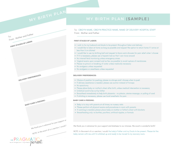 Download Your Blank Birth Plan & Sample Birth Plan (for reference)