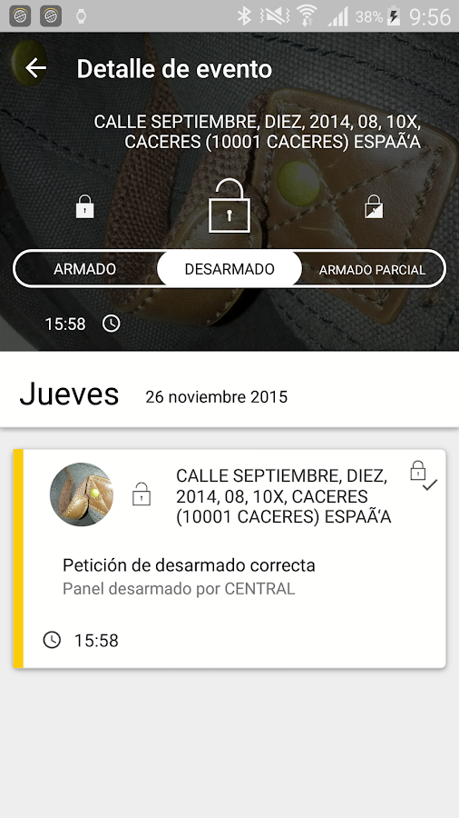 Prosegur SMART: captura de pantalla