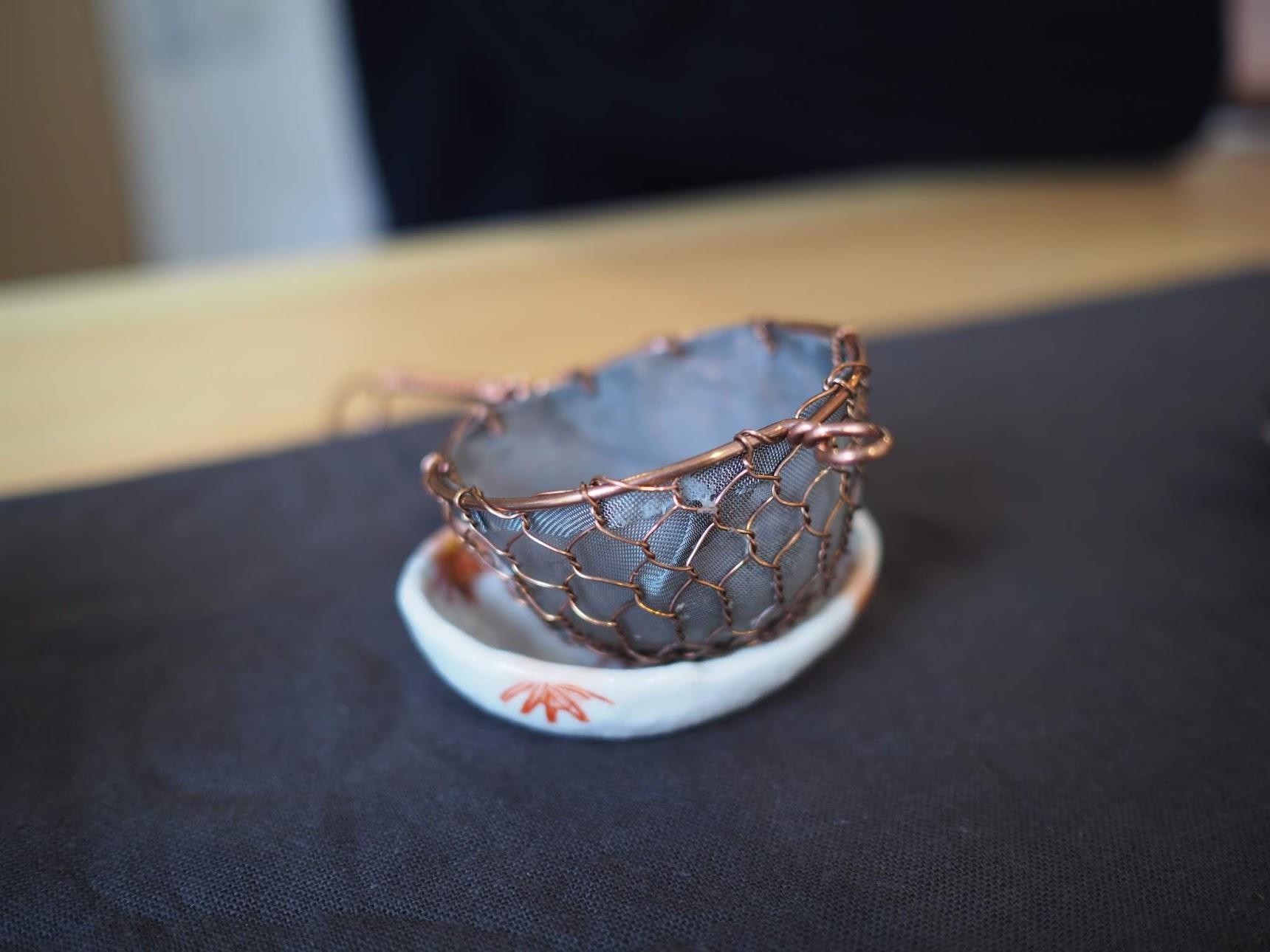 辻和金網の銅の茶こし