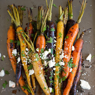 Roasted Baby Carrots with Feta and Beet Vinegar.