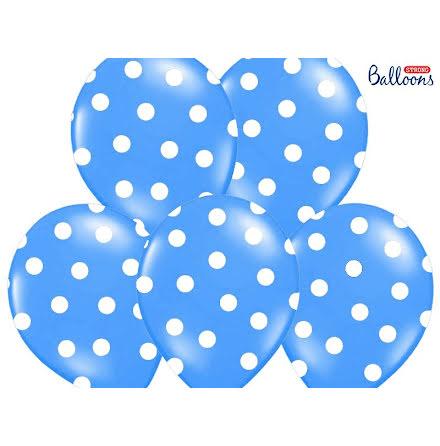 Ballonger - Kornblå med vita prickar