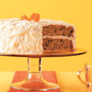 Carrot-Spice Cake with Caramel Frosting.