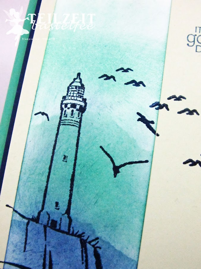 Stampin' Up! - Inkspire_me, Color Challenge, Uncharted Territory, My Meadow, Zoo Globe, Sponge Technique, Leuchtturm, Lighthouse, blue, blau