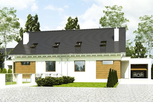 projekt Głuszec z garażem 1-st. bliźniak A-BL2