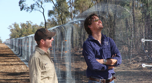 Narrabri-based Australian Wildlife Conservancy team members, operations officer Duncan Wallace, left, and operations manager Wayne Sparrow, survey the completed feral animal proof fence - 32km long and enclosing 5822 ha of the Pilliga.