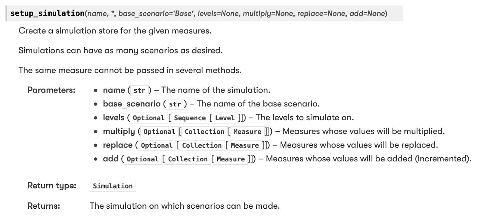 Setup Simulation argument documentation