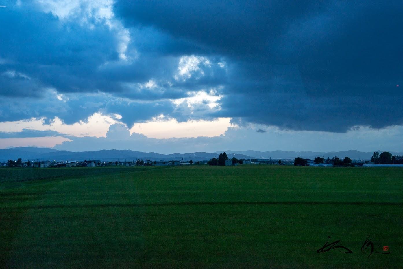 緑の水田と青い雲
