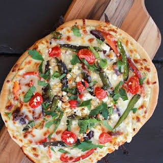 Whipped Feta and Roasted Jalapeño Greek Pizza.