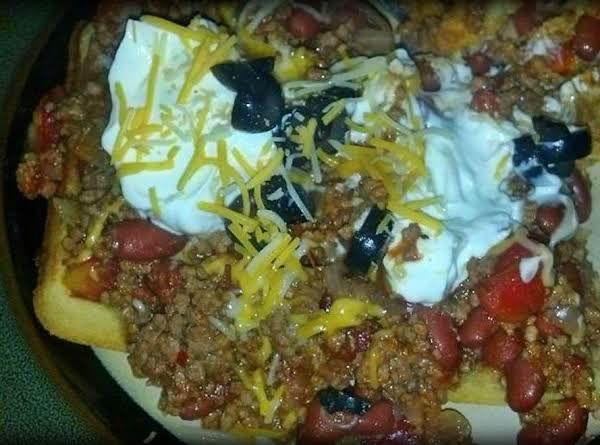 I Loaded My Homemade Chili On Top With Sour Cream, Olives And Cheese.