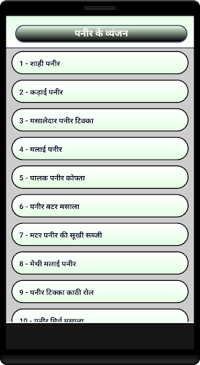 Panner Ke Vyanjan in Hindi