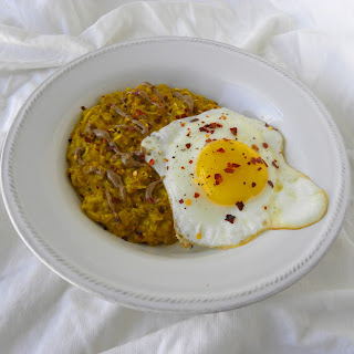 Savory Golden Oatmeal with Fried Egg