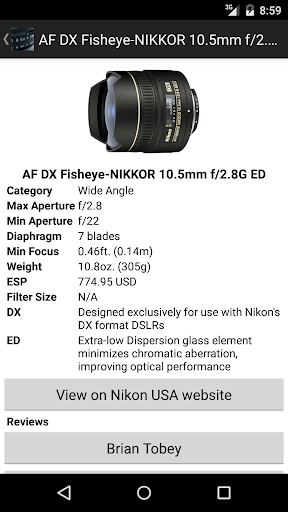 NikonLenses screenshot