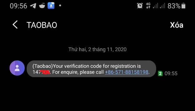 Xác thực số điện thoại đăng ký taobao